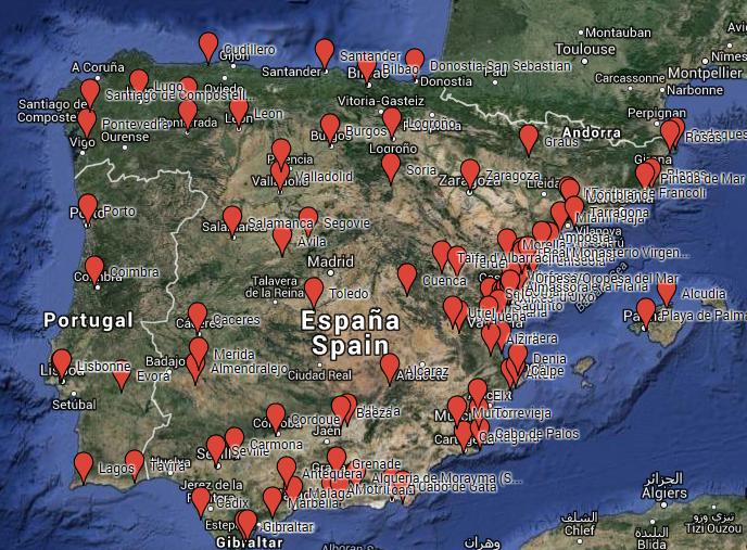 Cartes Des Principaux Lieux Visites En Espagne Et Au Portugal